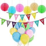 Feliz cumpleaños decoraciones Banner con Tissue Pom Poms y látex Party Balloons por Paxcoo