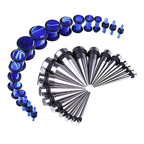 BodyJ4You Women's 36pcs Messgeräte-Kit Edelstahl verjüngt sich blau Marmor Art Stecker 14g-00g Ohr Stretching Set (Verjüngt Und Messgeräte Ohr)