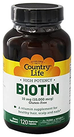 Biotin High Potency Gluten Free -- 5 mg - 120 Vegetarian Capsules by Country Life