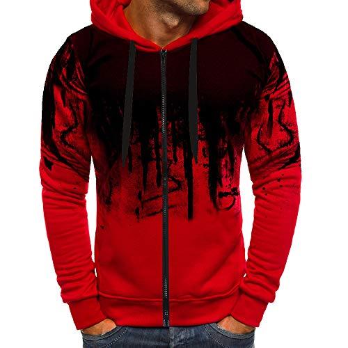 MERICAL Mantel Herren Zipper Farbverlauf Pullover Langarm Kapuzenpulli Tops Bluse(XX-Large,rot)