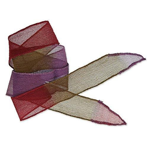 Seiden Schrägband 25mm Tie and Dye Vampire Bordeaux/Purple/Khaki x85cm (Seiden SchrÄgband)