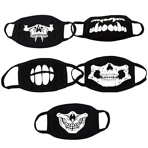 tive Maske Schwarzer Baumwolle Anti-Staub Mund Gesichtsmasken Design mit leuchtenden Schädel im Dunkeln leuchten für Unisex Outdoor Radfahren Cosplay Party (5er Pack) Outdoor-Reise ()