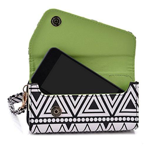 Kroo Pochette/étui style tribal urbain pour Nokia Asha 503 vert Noir/blanc