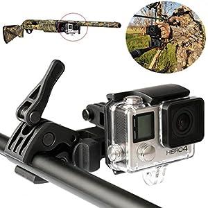 Sportsman Moun Clip GoPro Pince de fixation de barre de kit pour rail Gun Rifle Corps/nœud/canne à pêche Clip de fixation pour GoPro Hero3+ et Hero4