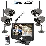 HaWoTEC Funküberwachung Funk Überwachungssystem Digital Quad Monitor mit 4 Funk-Kameras