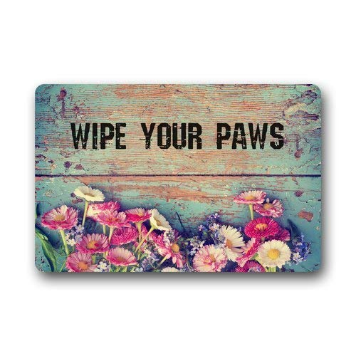 Wdskbg Generic Machine Clean Top Fabric & Non-Slip Rubber Backing Durable Indoor/Outdoor Doormat Door Mats - Funny Wipes Your Paws Retro Grunge Floral Pattern Wood Style (L23.6