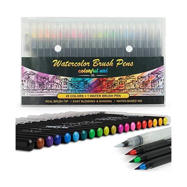 Artists Watercolour Brush Pens Set, 20 Vibrant Colours, Premium Real Soft Brush Tip Paint Markers Plus Water Blending Pen, Perfect for Painting, Colouring Pens, Lettering, Calligraphy, Art & Craft Set 51FpxFzEjfL
