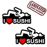 2 x Adesivi Divertente Vinile Funny Stickers I Love Sushi Per Auto Moto Casco Scooter Bici Motociclo Tuning B 90