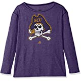 NCAA East Carolina Pirates Womens Her Full Color Primary Logo L/s Crew Teeher Full Color Primary Logo L/s Crew Tee, Regal Purple, Medium