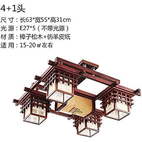 Kagy El salón chino de iluminación de luz de techo de madera antiguos antigüedades Restaurante Ming y Qing estudio vitela rectangular dormitorio , lámparas (4+1 63*55*31 ?