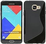 ENERGMiX Samsung Galaxy A3 (2016)//Silikon Hülle Schutz Cover Case Etui Bumper Zubehör in Schwarz