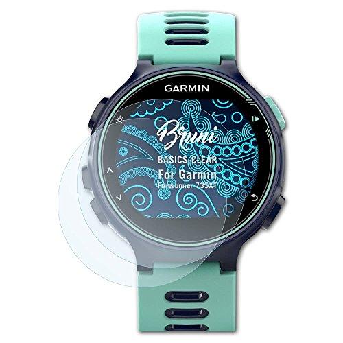Bruni Schutzfolie für Garmin Forerunner 735XT Folie, glasklare Bildschirmschutzfolie (2X)