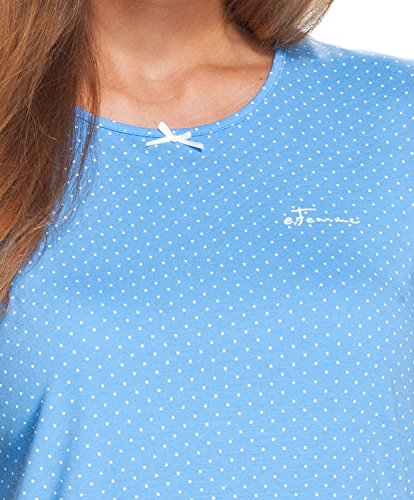 e.FEMME® Damen Schlafanzug MARION 329 mit Langarm, 3/4 Hose, 50% Baumwolle + 50% Modal, in Farben: ecru/blau, blau, verschiedene Größen Blau