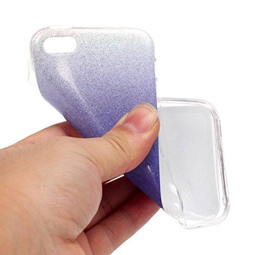 OuDu Etui en Silicone pour iPhone 5/5S/SE Housse de Dégradé de Couleur avec Poudre de Paillettes Coque TPU Silicone Caoutchouc Housse Souple de Protection Etui Flexible Lisse Housse Ultra Mince Coque  Violet