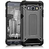 kwmobile Hybrid Outdoor Hülle für Samsung Galaxy J5 (Version 2016) DUOS mit Transformer Design - Dual TPU Silikon Hard Case Handy Hard Cover in Anthrazit Schwarz