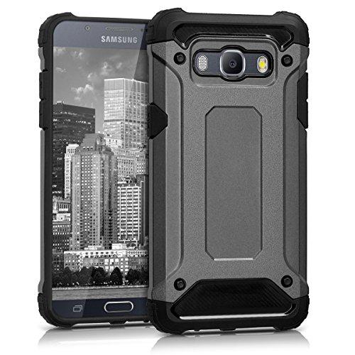 kwmobile Hybrid Outdoor Hülle für > Samsung Galaxy J5 (Version 2016) DUOS < mit Transformer Design - Dual TPU Silikon Hard Case Handy Hard Cover in Anthrazit Schwarz