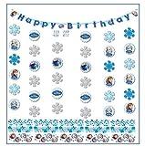 Libetui Kindergeburtstag Dekoration 'Eiskönigin' Happy Birthday Partykette Girlande Banner Konfetti 'Frozen' Geburtstag Mädchen