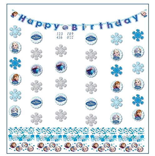 Libetui Kindergeburtstag Dekoration 'Eiskönigin' Happy Birthday Partykette Girlande Banner Konfetti 'Frozen' Geburtstag Mädchen (Frozen Happy Birthday)