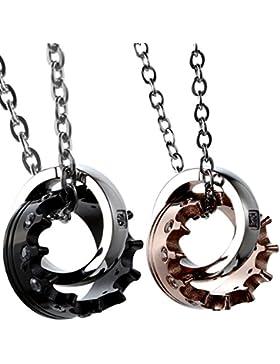 Oidea 1 Paar(2PCS) Freundschaftsketten mit Anhänger, Krone Ring Edelstahl Partner-Anhänger mit 45cm und 55cm Kette...