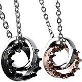 Oidea 1 Paar(2PCS) Freundschaftsketten mit Anhänger, Krone Ring Edelstahl Partner-Anhänger mit 45cm und 55cm Kette, Halskette Halsband für Damen Herren, Schwarz Silber Rosegold