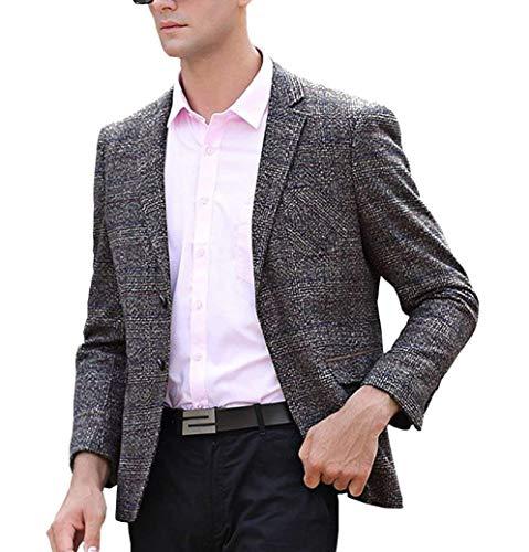 Blazer da uomo blazer cappotto di lana tailleur giacca taglie comode corta da uomo giacca classica da uomo casual slim fit tweed abiti (color : kaffee, size : l)
