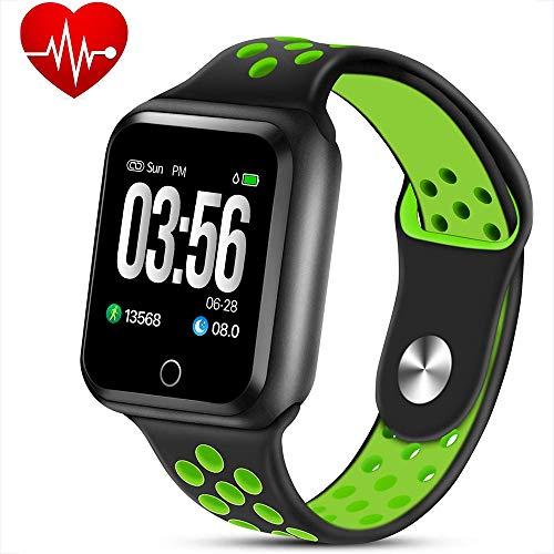 WQWEAQA Fitness Tracker Watch, attività Trackers con Heart Rate Monitor di Pressione sanguigna, Abbigliamento Elegante Bracciale Impermeabile Watch Sonno Monitor Calorie Counter,Black+G