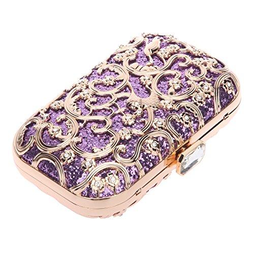 Bonjanvye Bird Print Purses and Handbags for Women Speacial Hand Clutch for Ladies Mint Purple