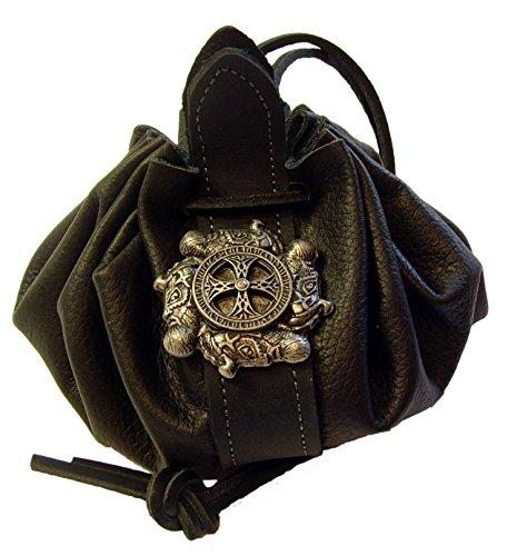 Lederbeutel Dukatenbeutel Geldkatze Farbe schwarz Wikingerkreuz