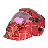 KKmoon Professionnel de toile d'araignée rouge solaire soudure casque ternissure automatique masque de soudeur