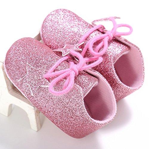 La Vogue-Scarpe con Stelle da Bimbe Scarpine Prima Neonato Pelle PU Rosa