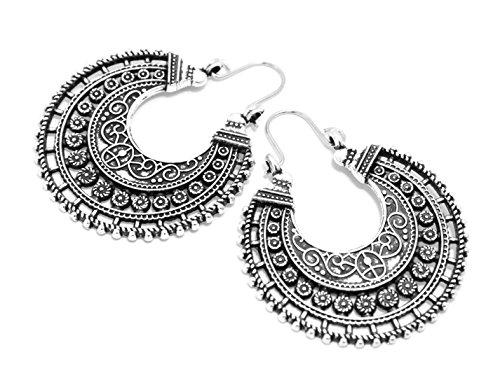 2LIVEfor Traumhafte Ohrringe Ethno Gross verziert Ohrringe Bohemian Vintage Ohrringe lang Hängend Antik Style Silber Ornament Rund (Zeichen, Formen & Symbole) - 2