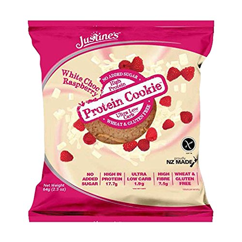 Justine\'s Protein Kekse, 12 x 64 g, Himbeere Weiße Schokolade