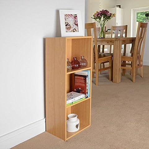 3 Tier Beech Wooden Bookcase Shelving Display Storage Wood Shelf Shelves Unit
