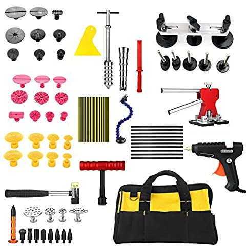Furuix 56pcs Car Dent Remover PDR Tool Kit Paintless Dent Repair Dent Remval Auto Body Dent Repair PDR KIt Glue Puller Slide Hammerr Kits Hail Repair Kit with Tab Lifter Glue Gun Mini Lifter for Pop a