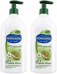 Monsavon Gel Douche 100% essentiel Lait & Amande Douce 750ml - Lot de 2