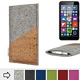 Handytasche EVORA mit Korktasche für Microsoft Lumia 640 XL Dual-SIM LTE - Schutz Case Etui Filz Made in Germany in hellgrau mit Korkstoff - passgenaue Handy Hülle für Microsoft Lumia 640 XL Dual-SIM LTE