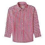 Almsach Trachtenhemd Klausi für Kinder in Rot inklusive Volksfestfinder, Farbe:Rot, Größe:140/146