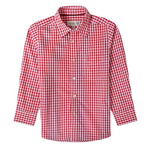 Almsach Trachtenhemd Klausi für Kinder in Rot inklusive Volksfestfinder, Farbe:Rot, Größe:80/86