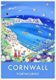 Cornish vintage style travel art poster print of Porthcurno in Cornwall by artist John Dyer.