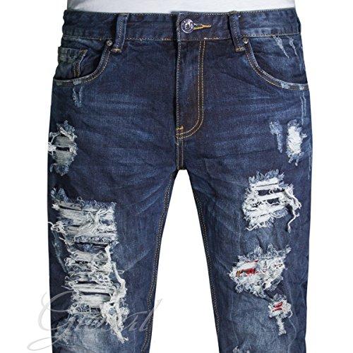 Pantalone Uomo Jeans Rotture Toppe Scozzese Cinque Tasche Denim Scuro Casual GIOSAL Denim