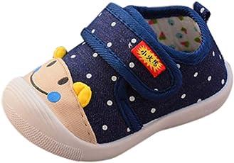 Saingace Toddler Kids Baby Boys Girls Cartoon Anti-Slip Squeaky Sneakers Stylish Rubber Sole Running First Walking Shoes