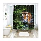 AieniD Badezimmer Deko Zum Hängen Tiger Im Wasser Mehrfarbig Bad Vorhang Size:180X200CM
