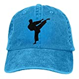 Black Karate Guy Denim Hat Adjustable Unisex Vintage Baseball Cap