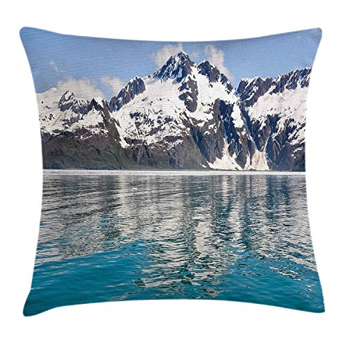 Yinorz Alaska Throw Pillow Cushion Cover, Aialik Bay Kenai Fjords Arctic Landscape Northern American Idyllic, Decorative Square Accent Pillow Case, 18 X 18 inches, Aqua Sky Blue Forest Green (Green Bay Transfer)
