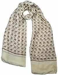 Super luxury large maxi scarf small Owl print cream