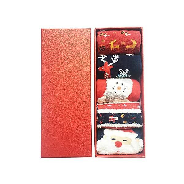 LIKERAINY Christmas Ragazze Donna Calzini Cotone di Natale Caldo Inverno Confortevole Babbo Natale e Alce 5 Paia 2 spesavip