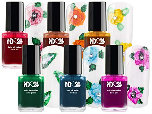 COLOR INK Nail Art Tinte SET - RAINBOW - 6x12ML- Marmor-Look - Blüten - Batik - Regenbogen Effekte - MADE IN GERMANY