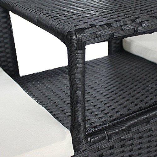 Poly Rattan 2-Sitzer Gartenbank Sitzbank Gartenmöbel Bank + Tisch Sitzkissen - 4