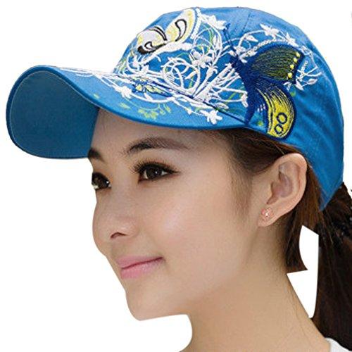 THENICE Damen Schmetterlings-Stickerei- Vintage Baseball Cap Snapback Trucker Hat (blau)