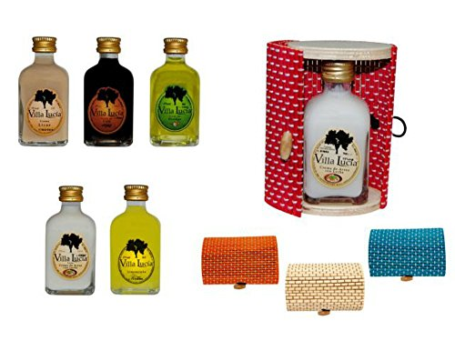 Estupendas botellas de licores minis presentadas en unas elegantes cajas de mimbre ovaladas. Material: Mimbre y Cristal. Medidas: (8 cm. - 5 cl.)(6 x 10 cm.)Sabores Licores: Crema, café, hierbas, arroz con leche y limoncielo